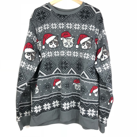 mad engine christmas sweater xl grumpy cats o214